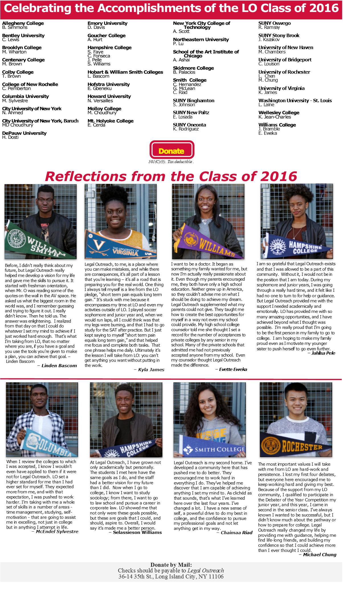 College Matriculation 2016
