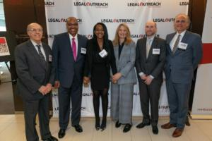 Executive Director James O'Neal with Advisory Board Member Michael Cardozo, Emcees Thursday Williams and Heidi Schreck, Bloomberg General Counsel David Levine, and Steve Cooper from Event Host Reed Smith